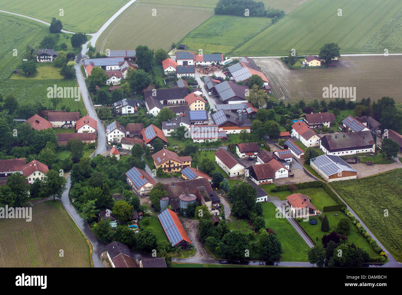 aerial view to village with many solar roofs, Germany, Bavaria, Prenzing - Stock Image