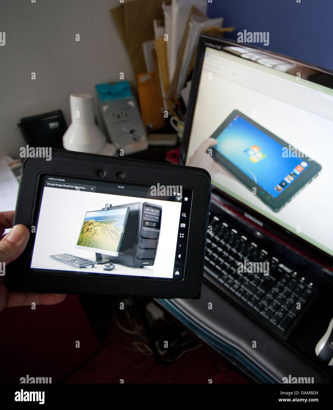 Personal computer sales decline while tablet sales soar, London - Stock Image