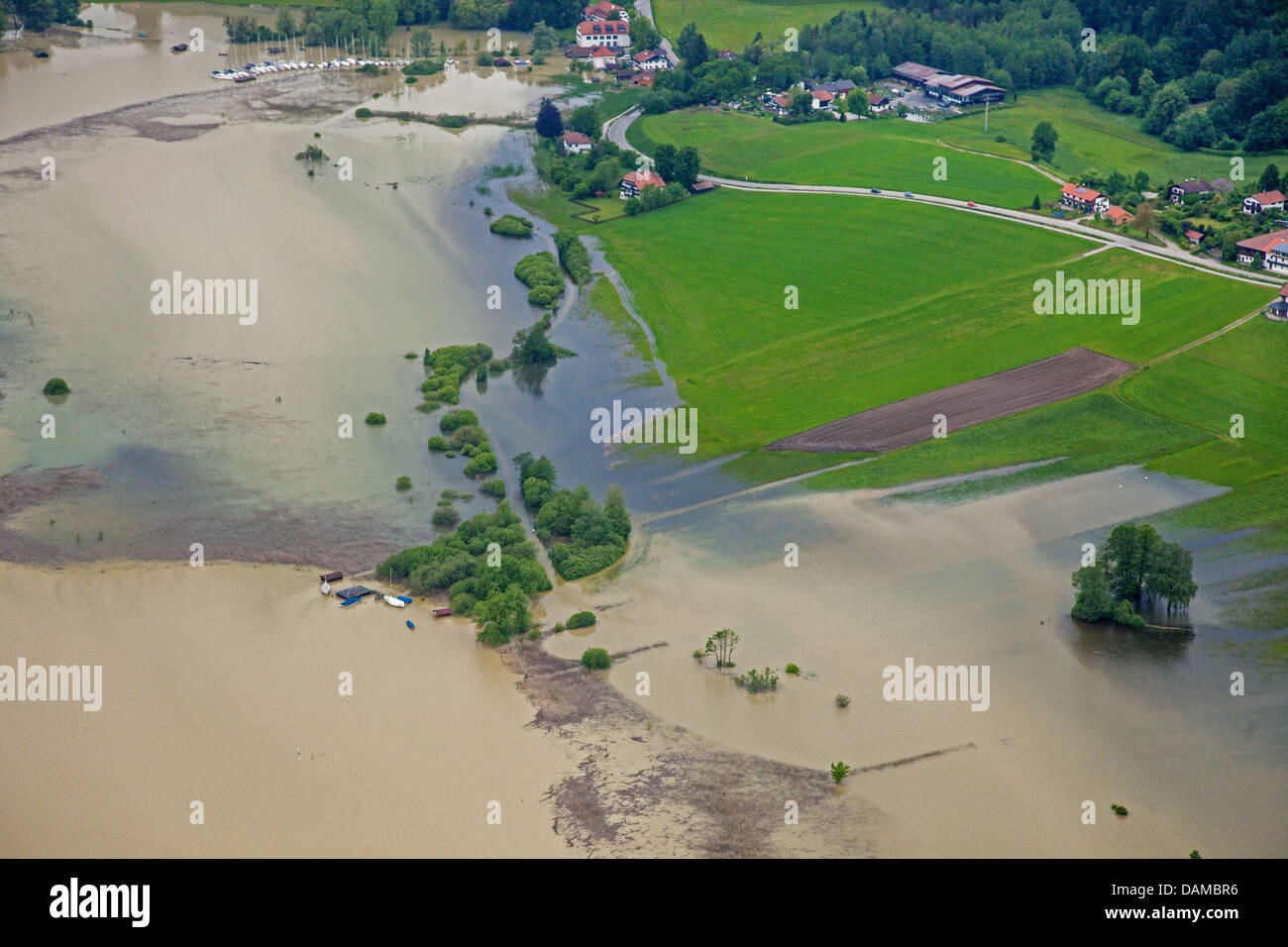 bay Schafwaschener Bucht at lake Chiemsee with sailboat marina during flood in June 2013, Germany, Bavaria, Lake - Stock Image