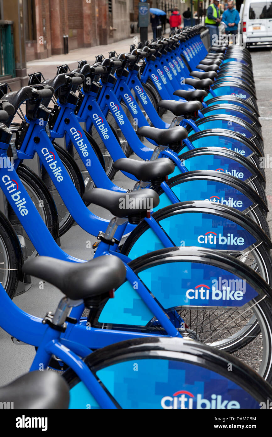 Blue bikes for rent in New York City - Stock Image