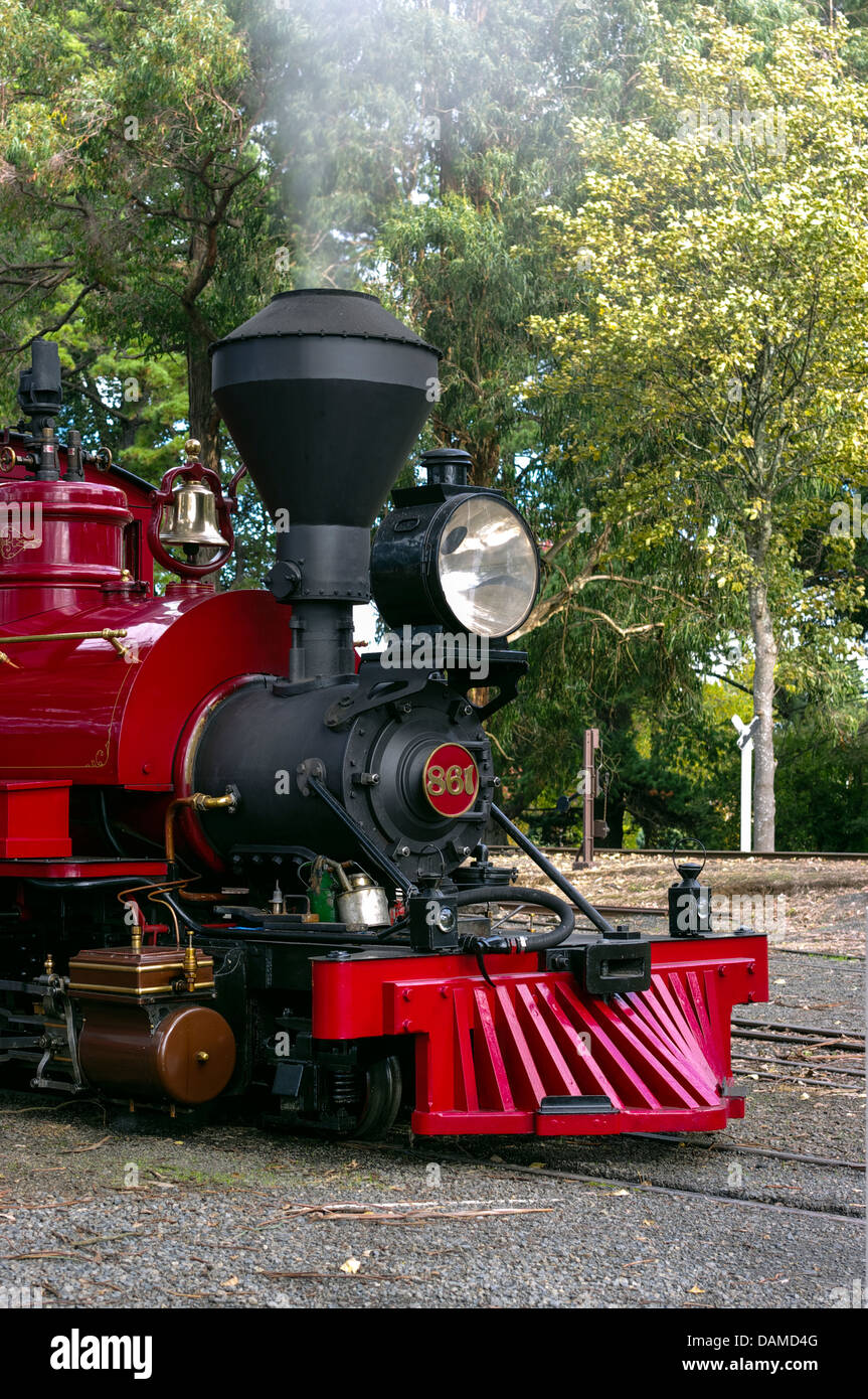 A locomotive on the Puffing Billy, a tourist steam railway just east of Melbourne, Victoria, Australia. - Stock Image