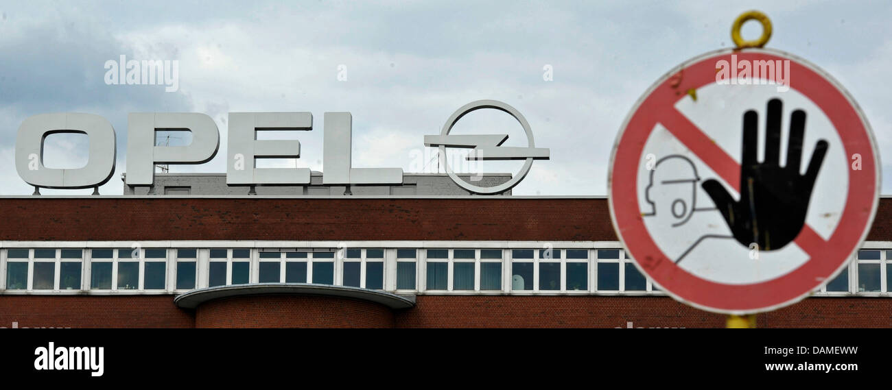 A warning sign is situated in front of the Opel factory in Bochum, Germany, 09n June 2011. According to news reports - Stock Image