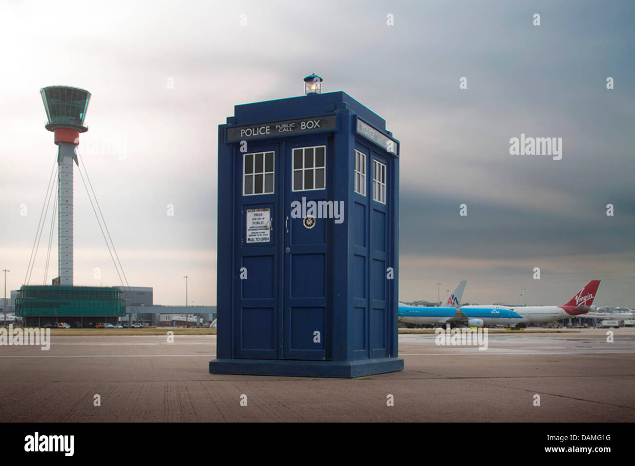 London, UK. 16th July 2013. HANDOUT IMAGE: Pictures courtesy of Heathrow airport. The Tardis photobooth from the - Stock Image