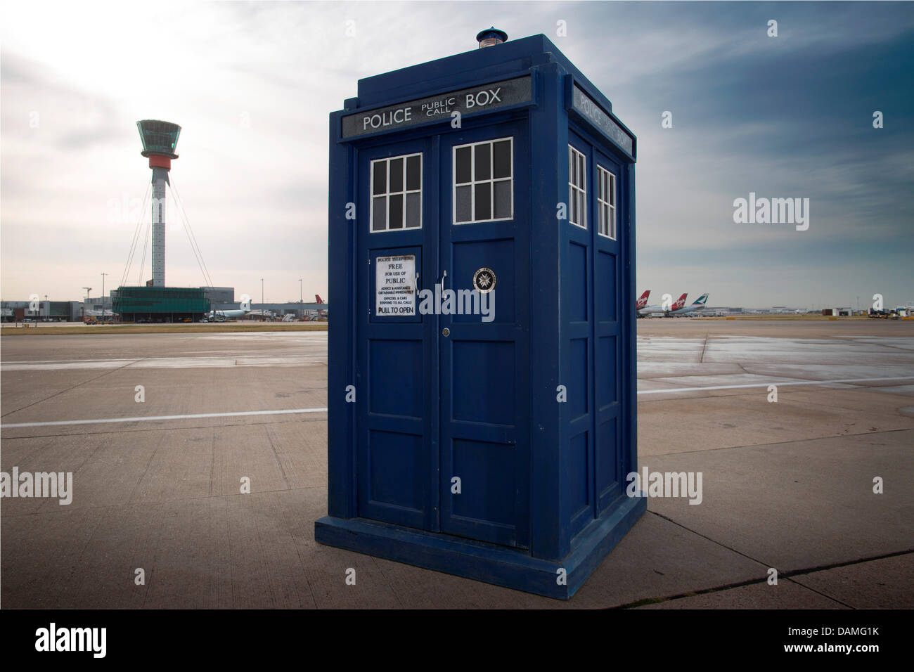 London, UK. 16th July 2013. HANDOUT IMAGE: PIctures courtesy of Heathrow airport.The Tardis photobooth from the - Stock Image