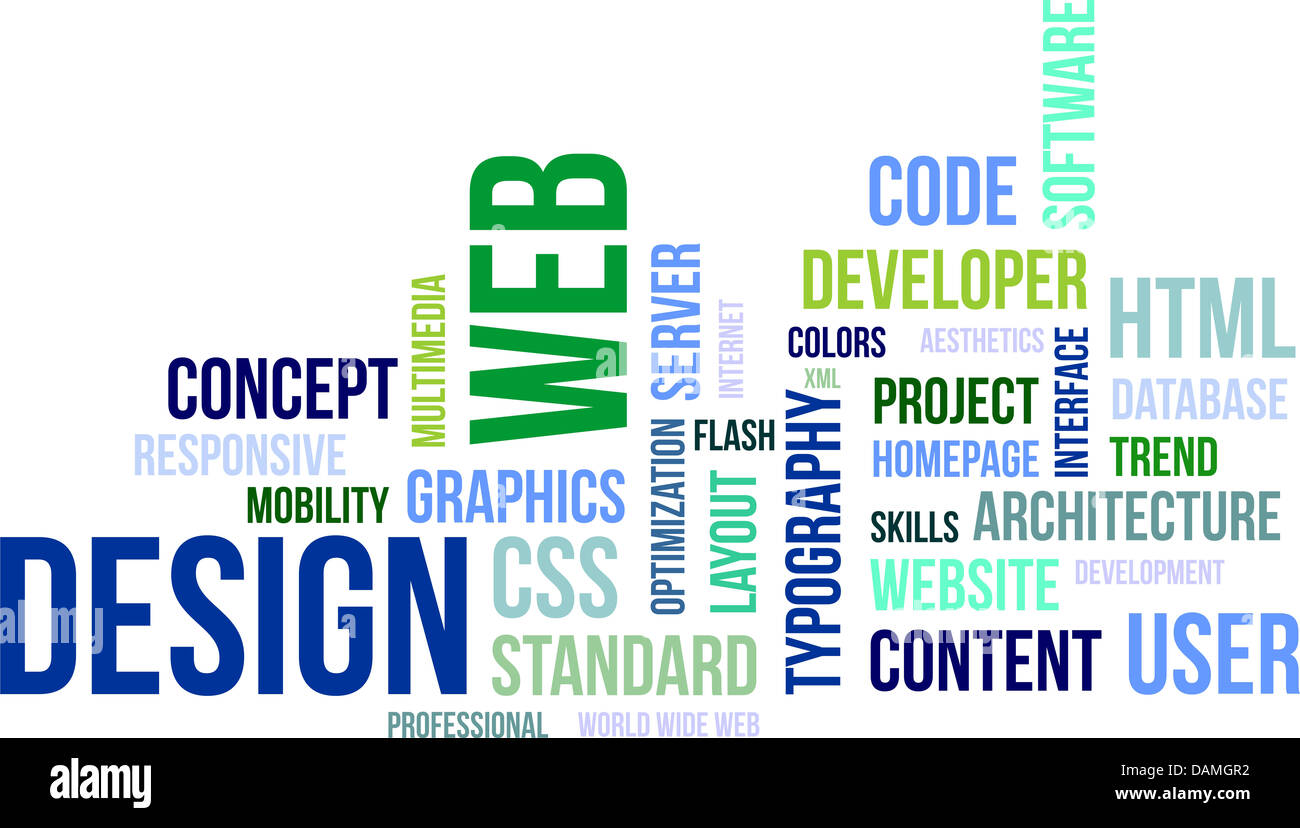 A word cloud of web design related items - Stock Image