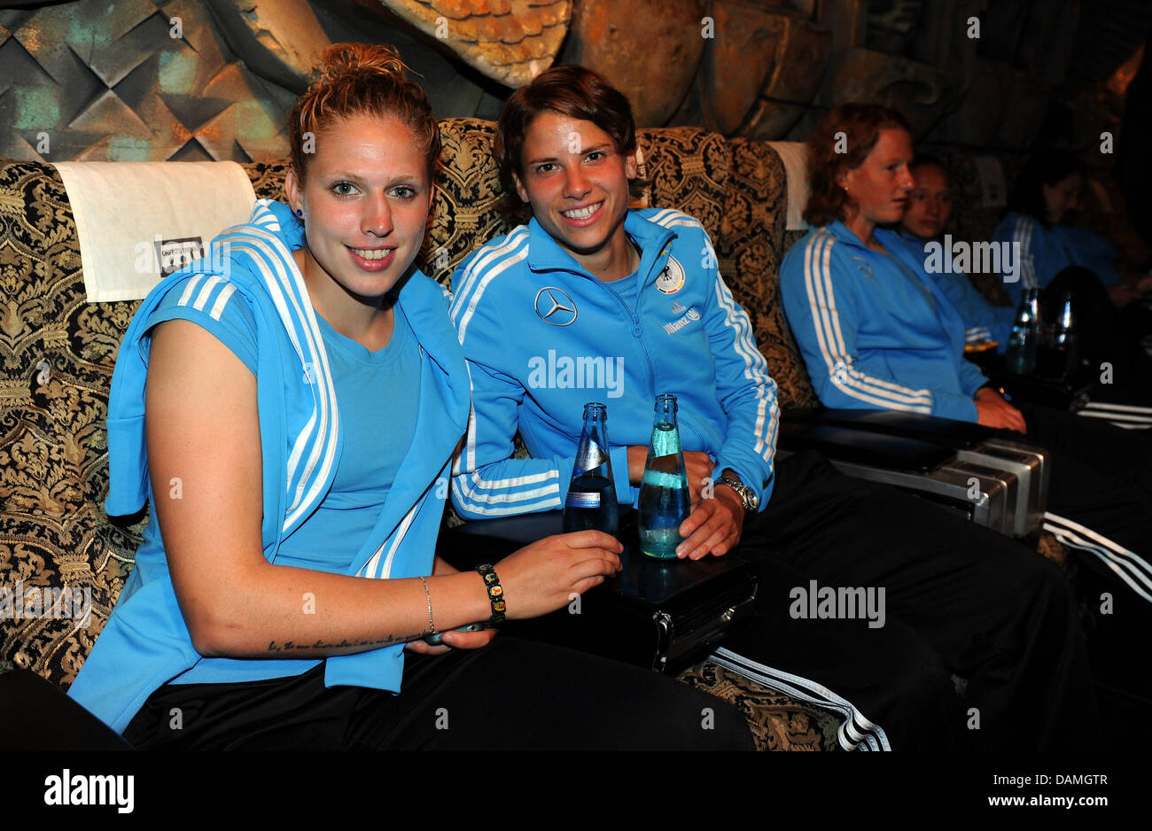 Kim Kulig (L) is seen with team mate Annike Krahn during the German Women National Team 'Tatort' preview - Stock Image