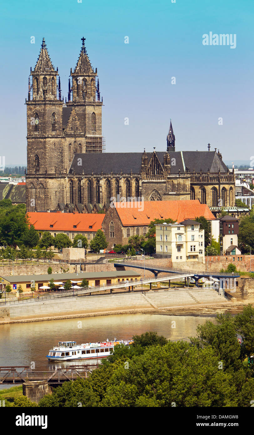 The Cathedral of Magdeburg, named Cathedral of Saint Katharina and Saint Mauritius, is pictured in Magdeburg, Germany, Stock Photo