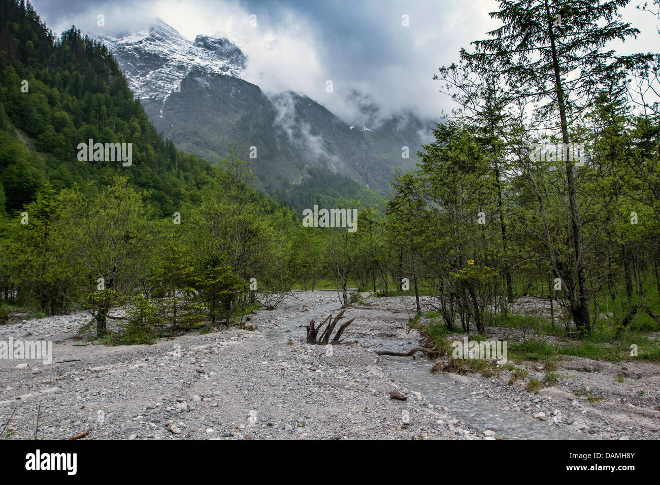 Eisbach, cone of debris with Watzmann in the background, Germany, Bavaria, Koenigssee - Stock Image