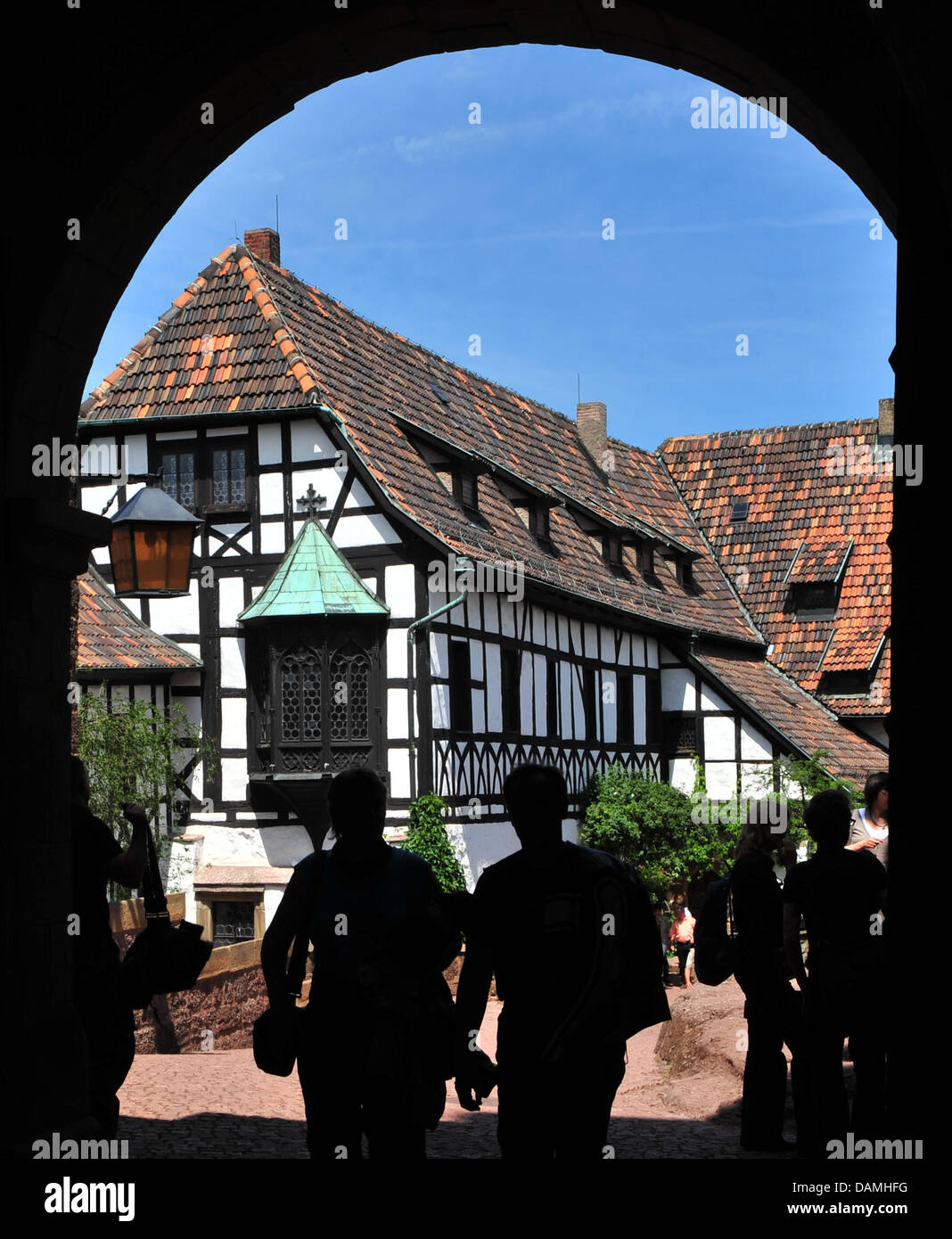 Tourists visit the Wartburg in Eisenach, Germany, 6 June 2011. In 1521, Martin Luther translated the Bible - Stock Image
