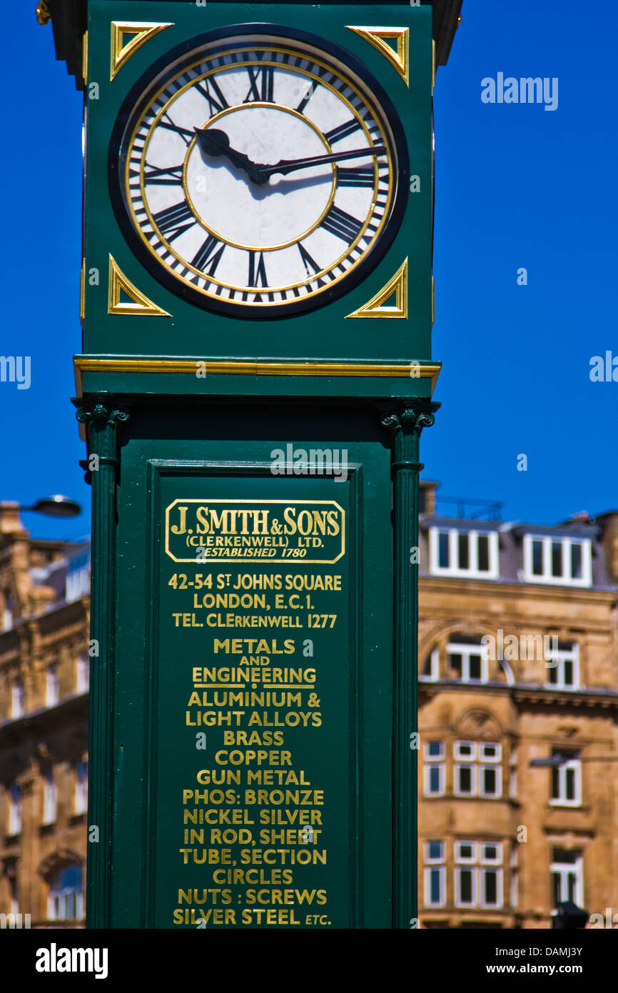 J.Smith&Sons clock tower at the Angel intersecction City road, London - Stock Image
