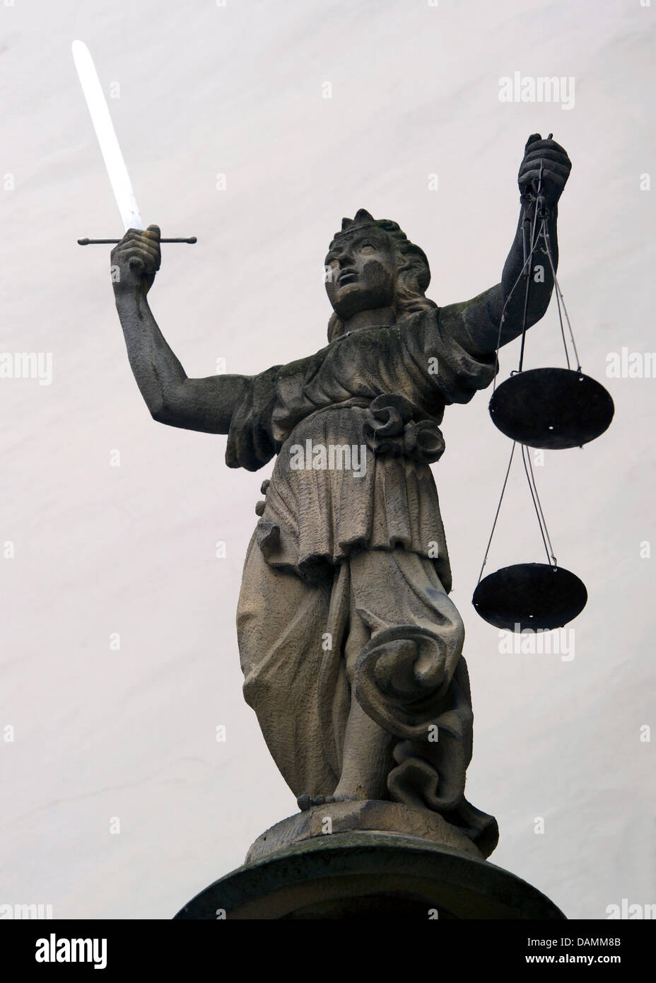 Justitia from 1591 stands at the entrance of the court wind at the city hall in Goerlitz, Germany, 21 June 2011. - Stock Image