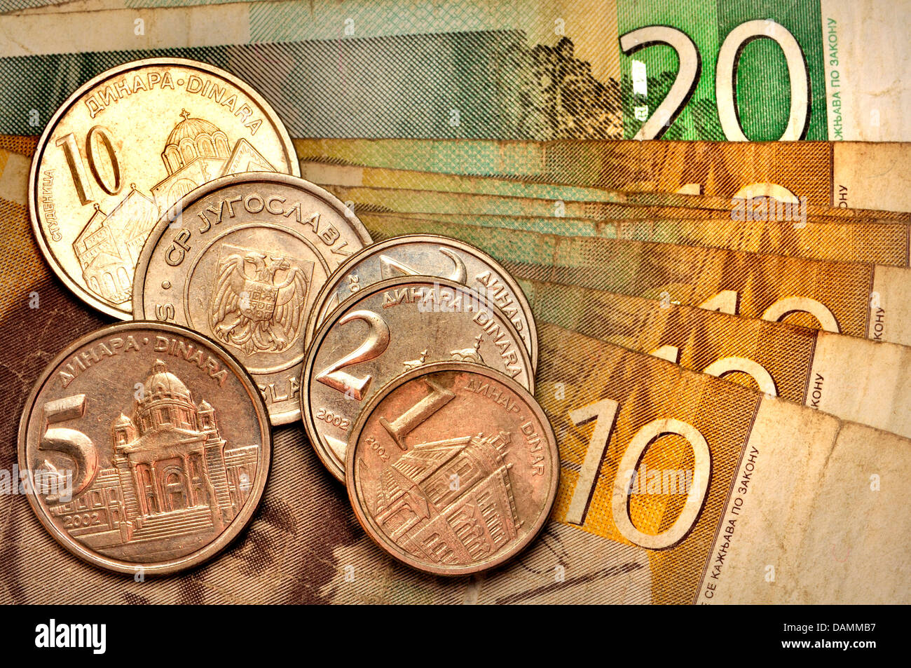 Serbian coins and notes - Stock Image
