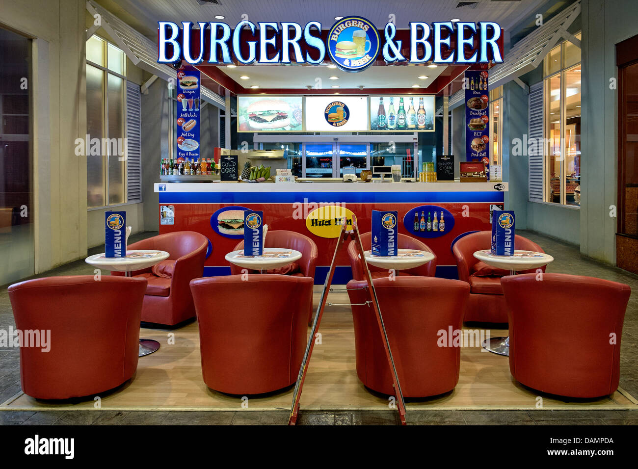 Burger And Beer Bar Located In The Interior Of A Shopping Mall With Stock Photo Alamy