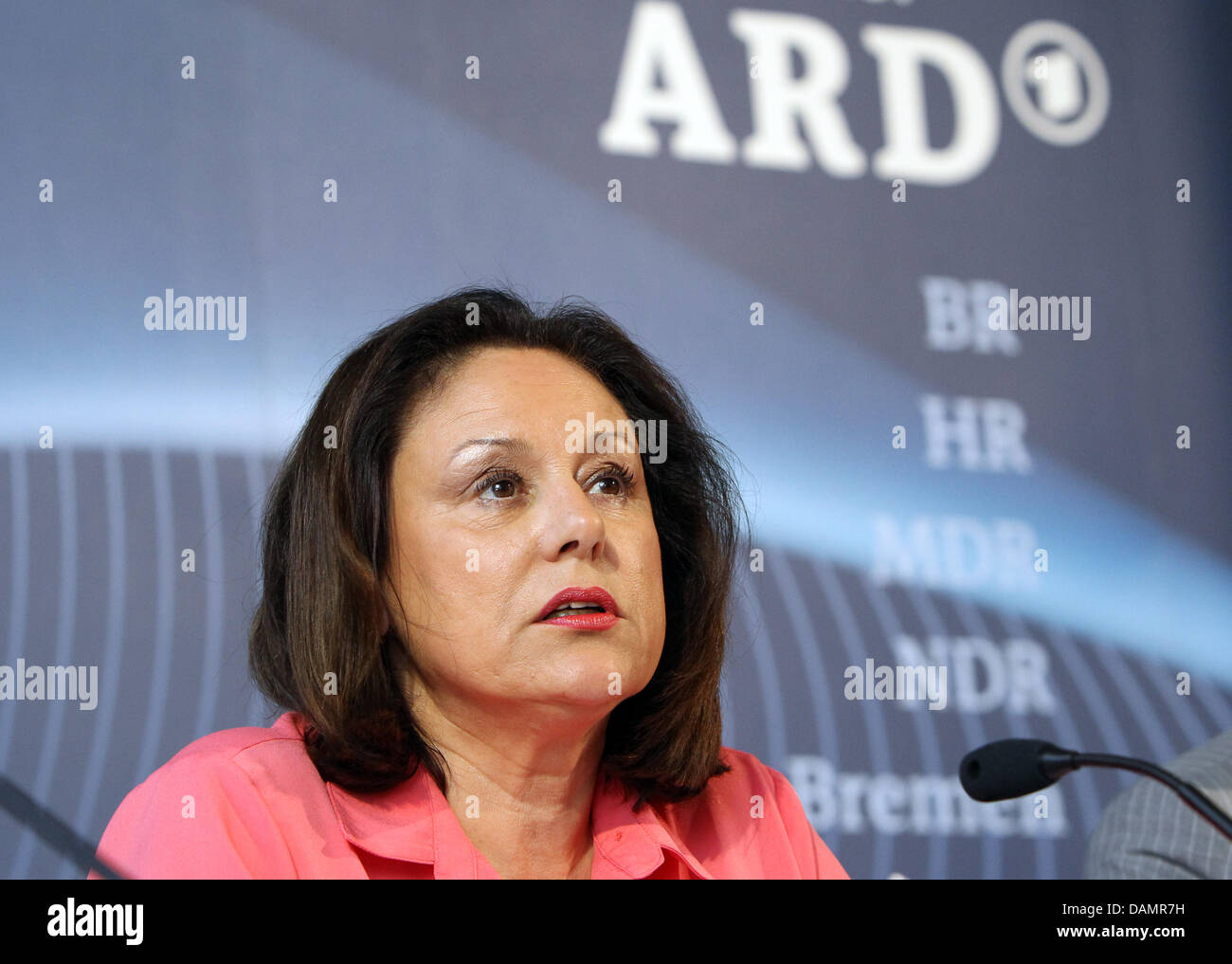 Chairwoman of the Association of Public Broadcasting Corporations in Germany (ARD), Monika Piel, speaks at a press - Stock Image