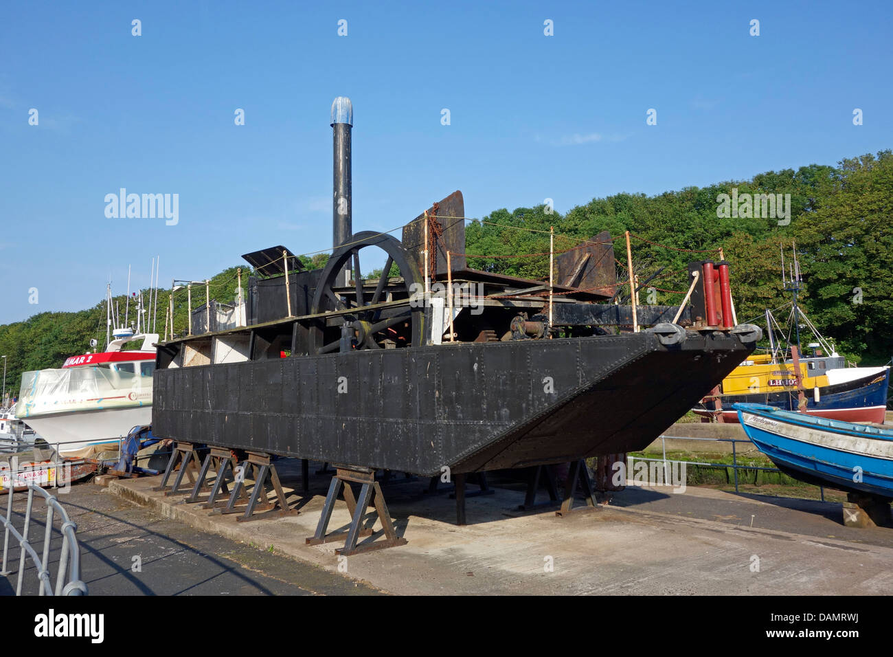 Dragboat Bertha laid up by Eyemouth Maritime Museum in Eyemouth Scottish Borders Scotland Stock Photo