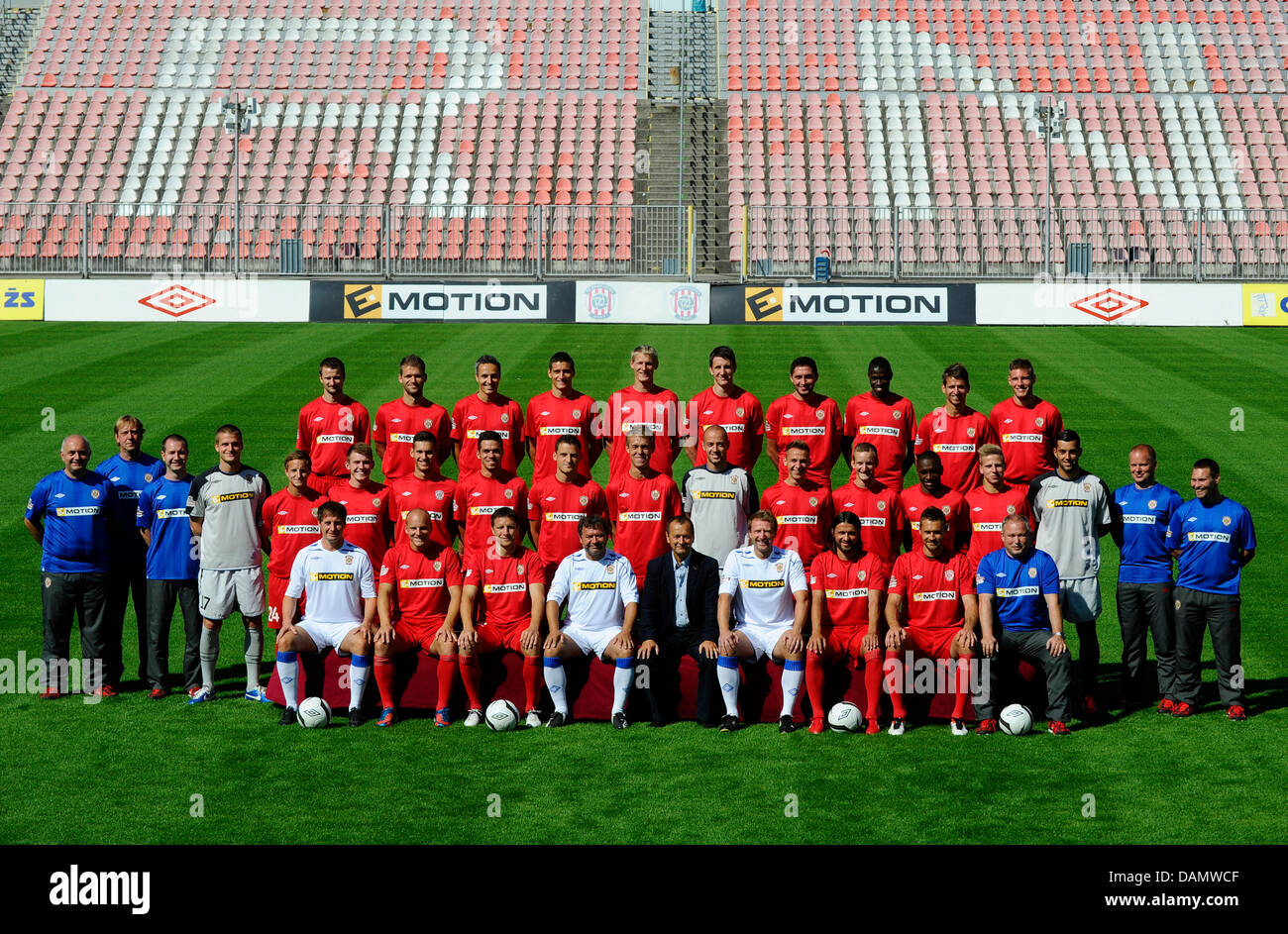 Zbrojovka Brno, Czech soccer league team, season 2013/2014. Upper row from left: Tomas Frejlach, Marek Kascak, Tomas - Stock Image