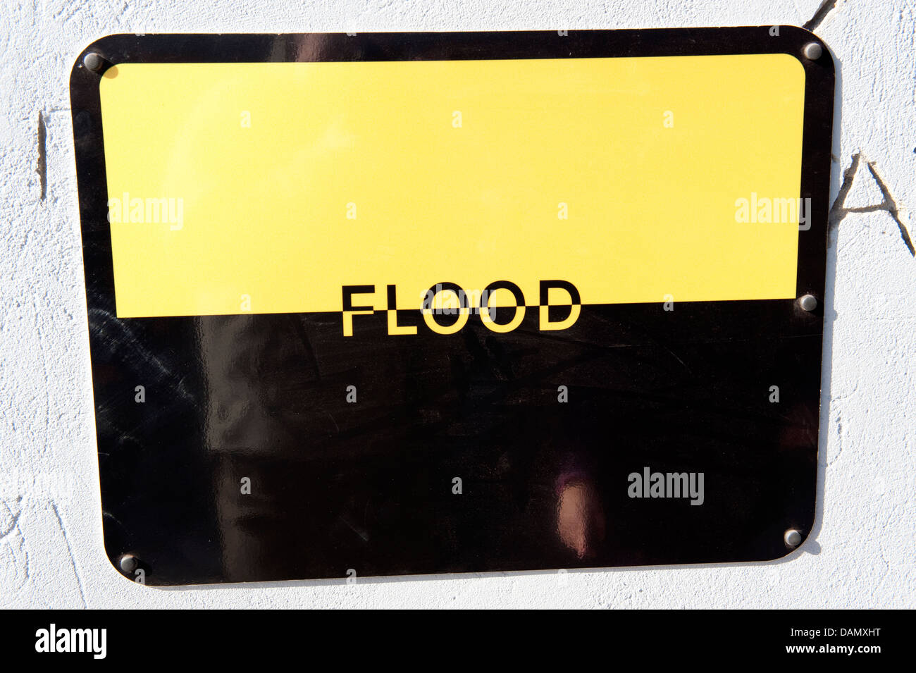 Flood Sign Yellow Black Warning Oblong Rectangle - Stock Image