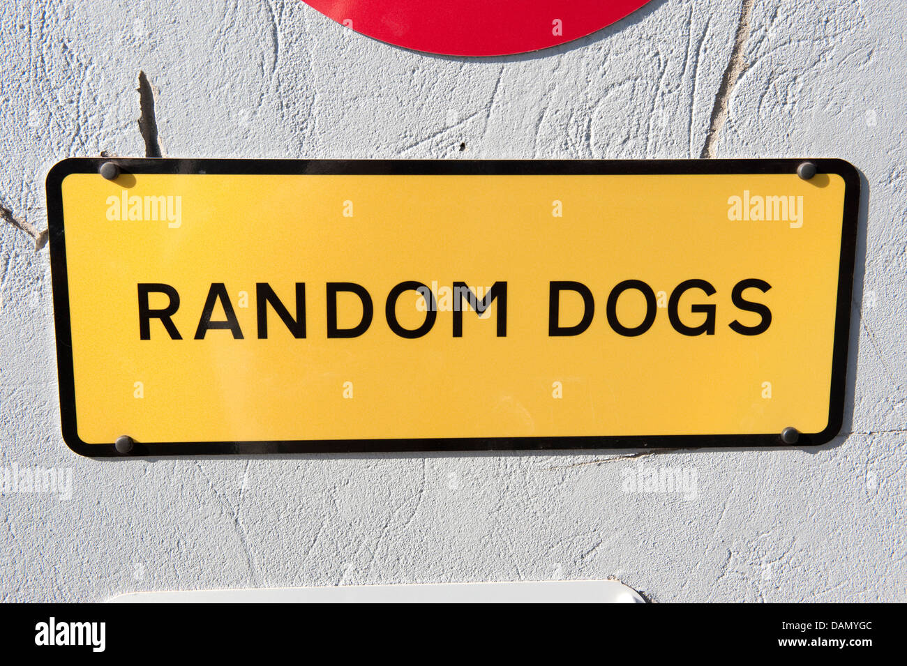Sign Random Dogs Yellow Black Oblong Warning - Stock Image