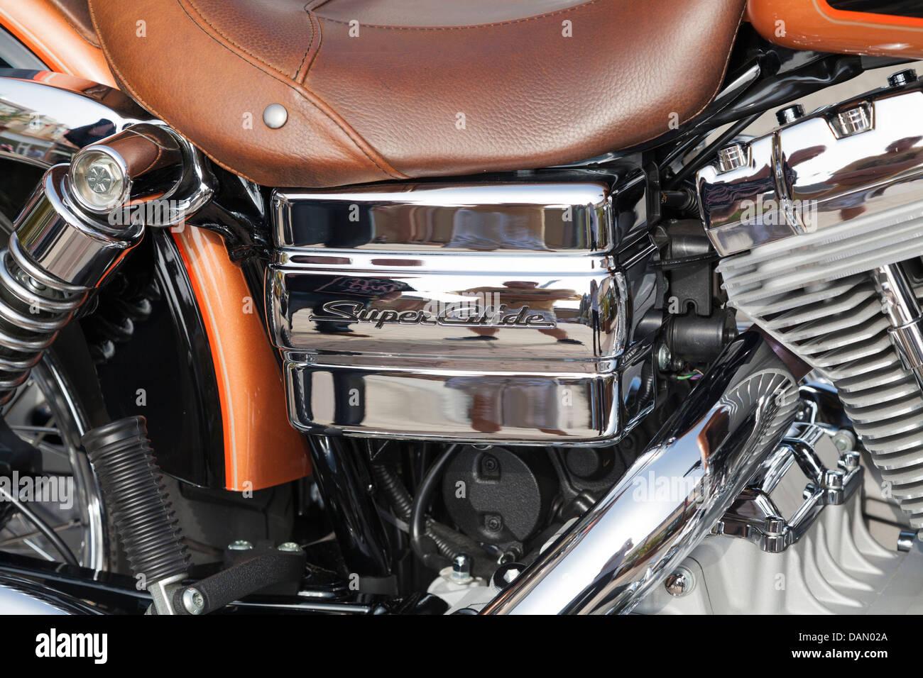 Harley Davidson super glide chromed engine close up - Stock Image