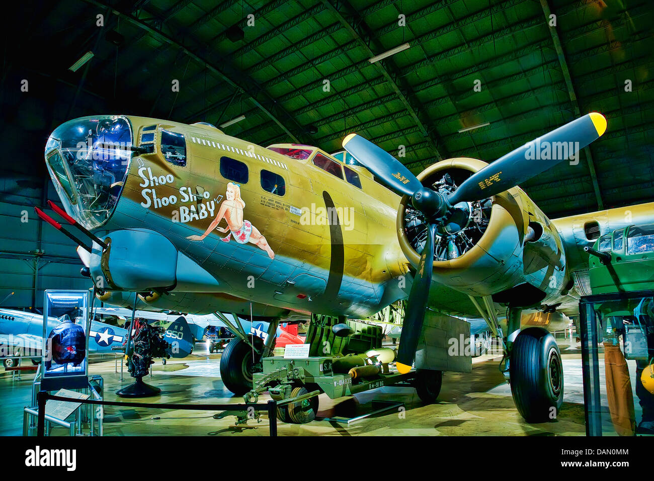 Shoo Shoo Baby is the name of a B-17 Flying Fortress in World War II, preserved and on public display at Wright Stock Photo