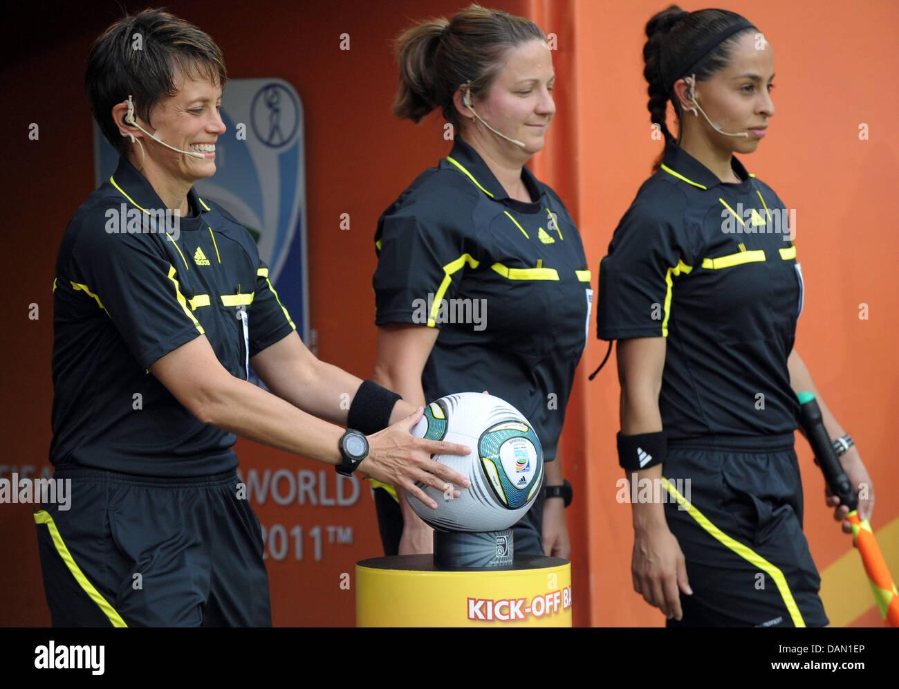 Referees Kari Seitz (USA), (l-r) Marlene Duffy (USA) and Veronica Perez (USA) arrive to the Group D match Brazil Stock Photo