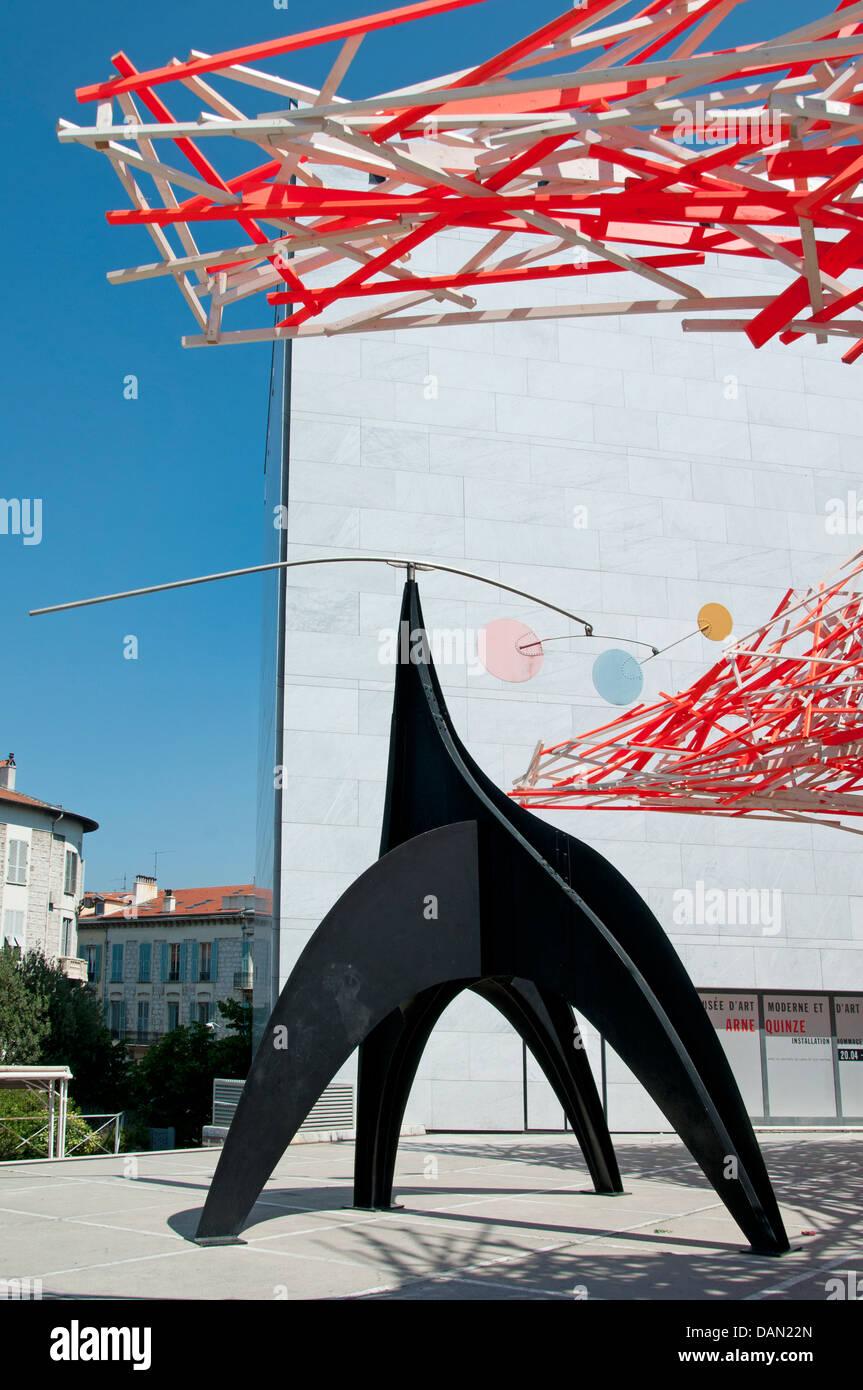 Musée d'Art Moderne et d'Art Contemporain - Museum of modern and contemporary Art Nice Wooden Art Arne - Stock Image
