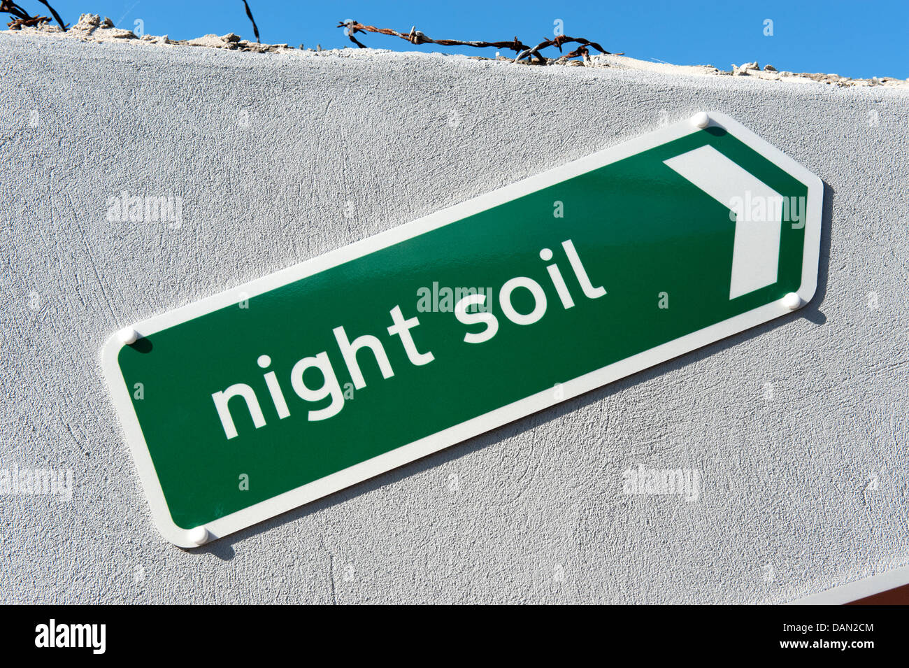 Sign Night Soil Green Arrow to right - Stock Image