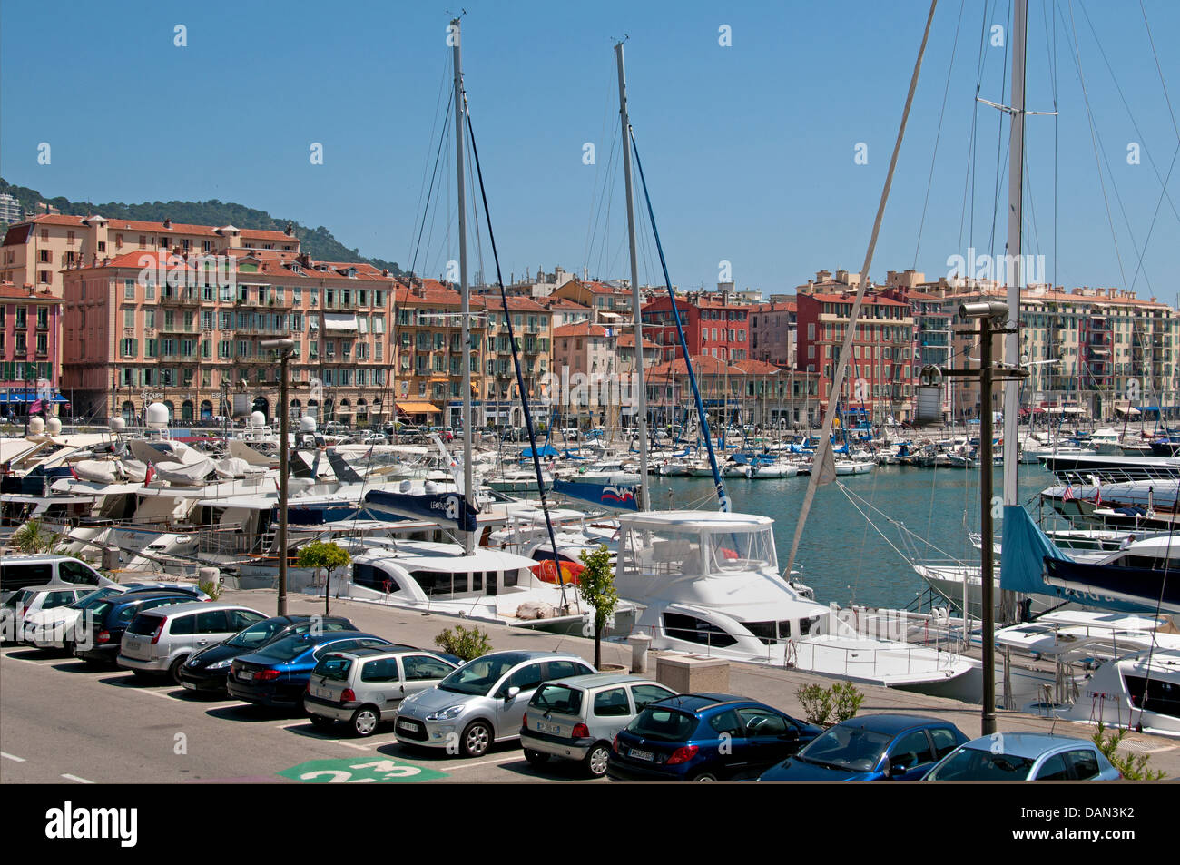 Nice Old Vieux Port  Harbor French Riviera Cote D'Azur  Mediterranean - Stock Image