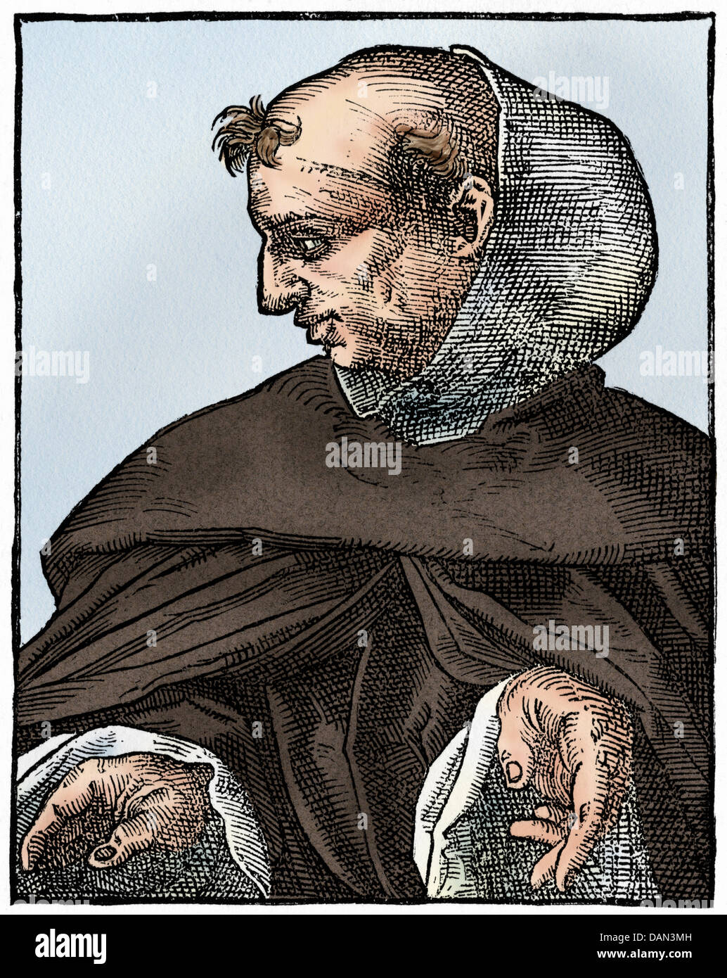 Albertus Magnus, medieval German scholar and theologian. Digitally colored woodcut - Stock Image