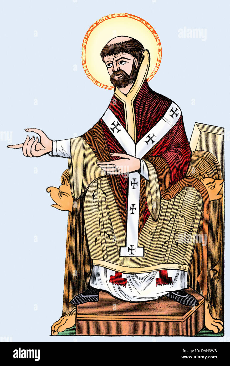 Augustine, first Archbishop of Canterbury, 596 AD. Digitally colored woodcut - Stock Image