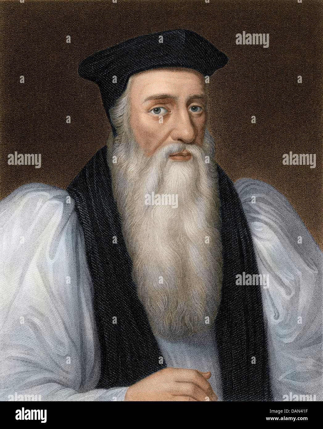 Thomas Cranmer, Archbishop of Canterbury executed for heresy under Mary I. Digitally colored steel engraving - Stock Image