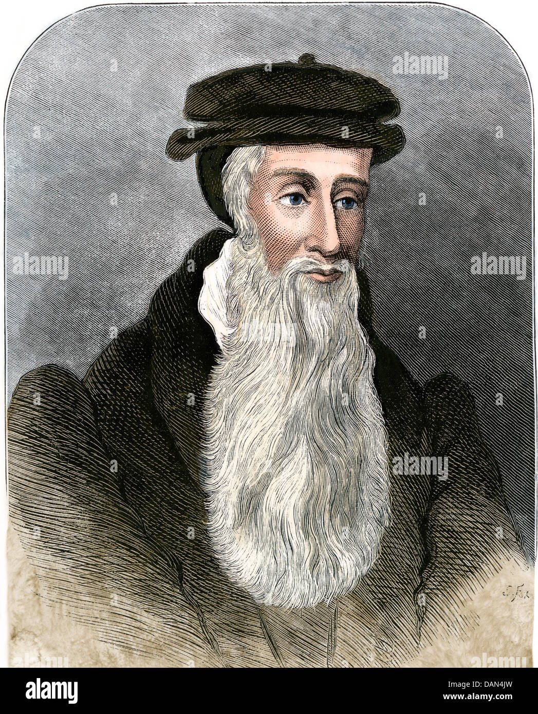 Religious reformer John Knox. Hand-colored woodcut - Stock Image