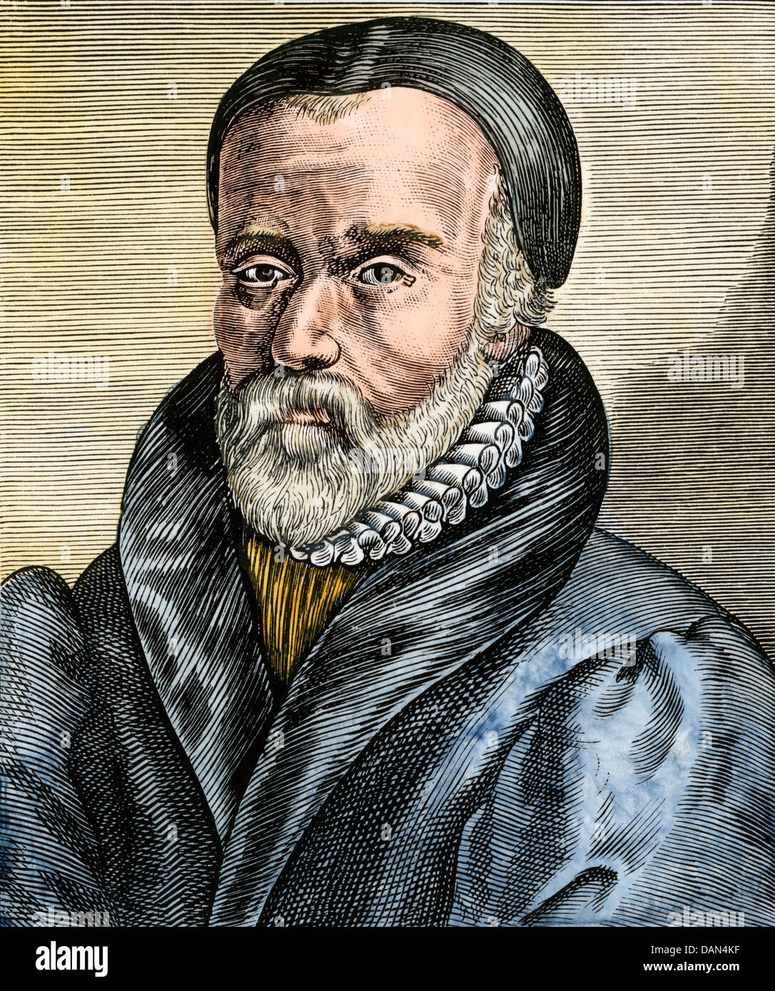 William Tyndale, English translator of the New Testament. Hand-colored  woodcut
