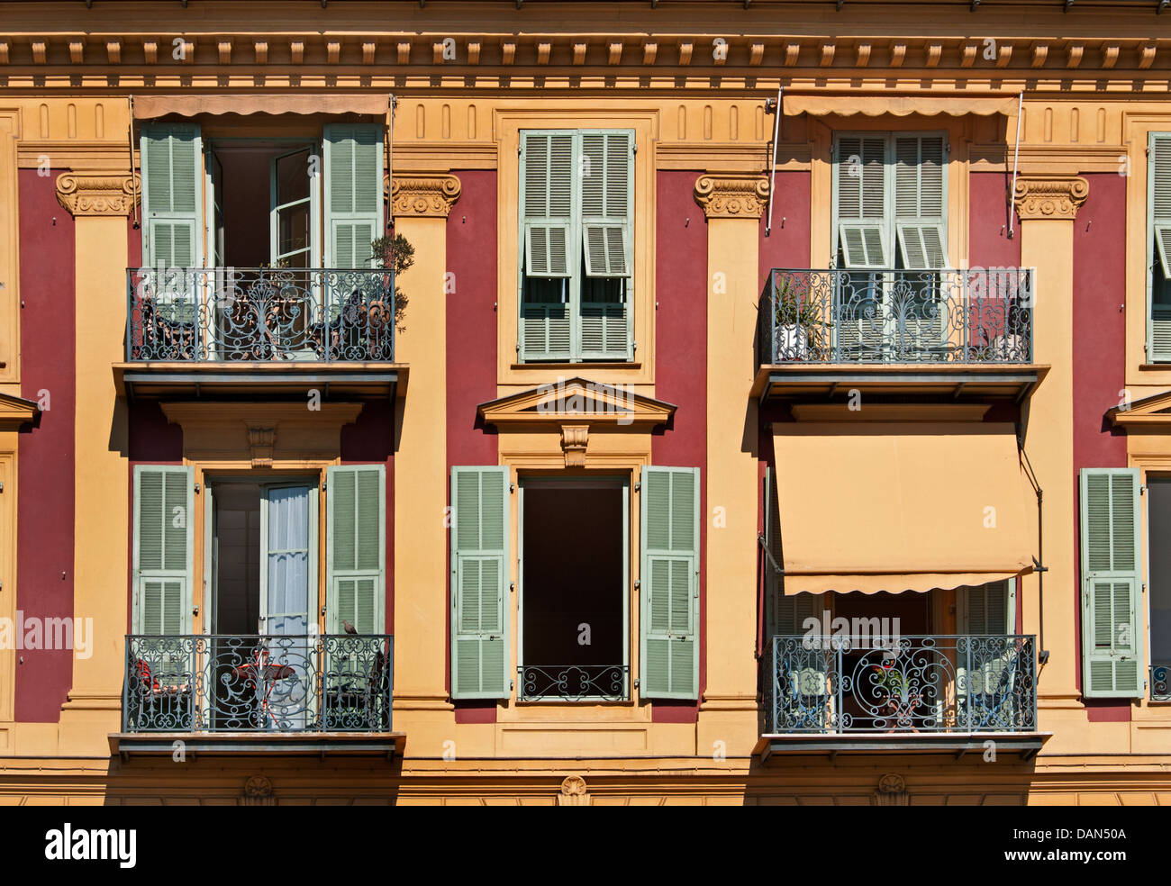 Monaco Monte Carlo old center balcony  near Port Harbor France French - Stock Image