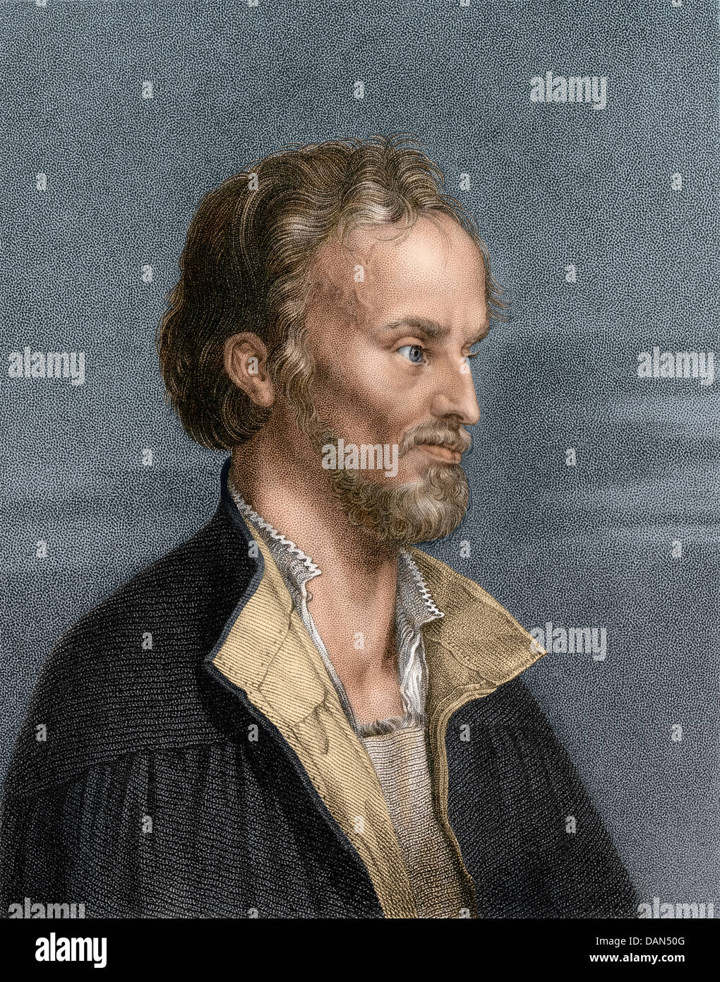 Philip Melanchthon, German religious reformer and scholar. Digitally colored engraving Stock Photo