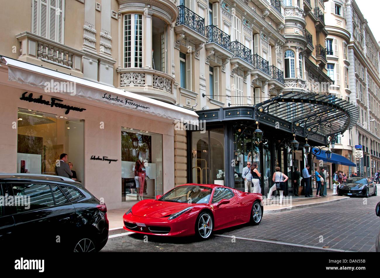 Salvatore Ferragamo  Fashion shop next to Hotel de Paris opposite of Grand Casino Monte Carlo Principality of Monaco - Stock Image