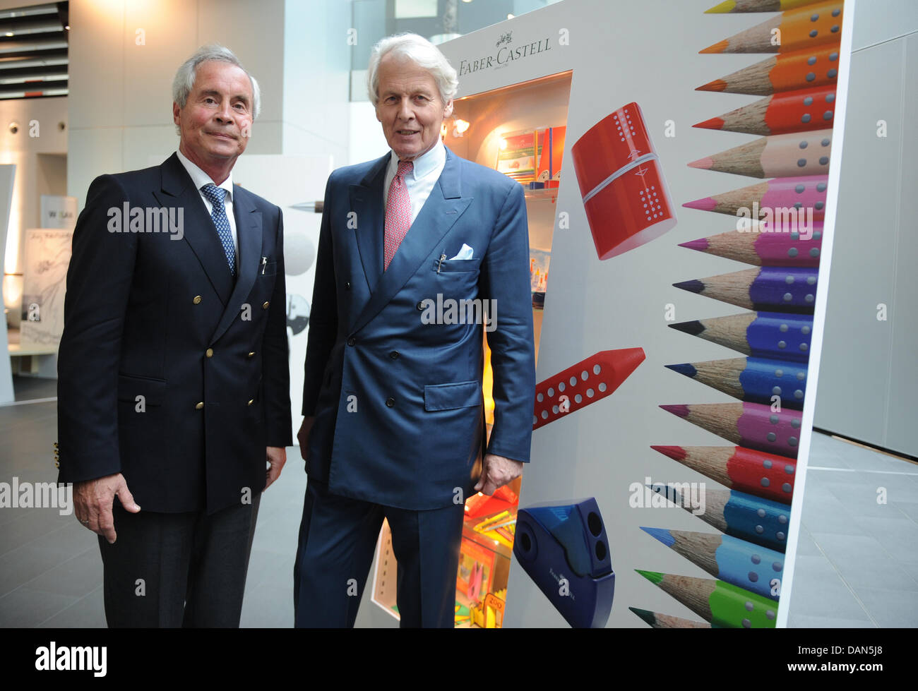 Head of the company Anton Wolfgang Duke of Faber Castell (R) and his brother Andreas Duke of Faber Castell pose - Stock Image