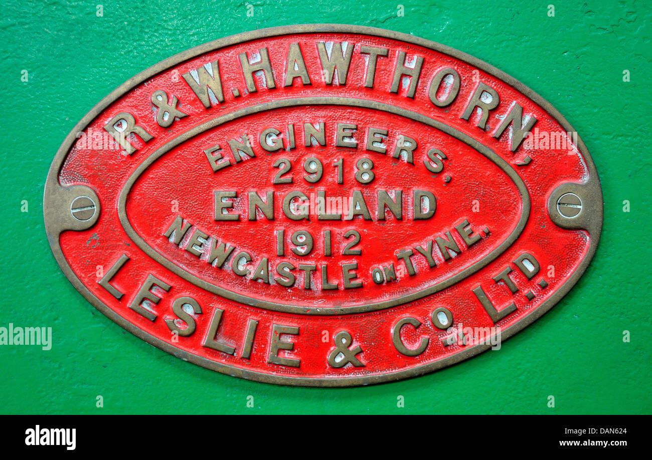 Chatham, Kent, England. Chatham Historic Dockyard. Maker's plate on steam locomotive - Stock Image