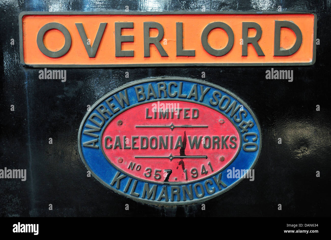 Chatham, Kent, England. Chatham Historic Dockyard. Maker's plate on locomotive - Overlord (Barclay 0-4-0 Diesel - Stock Image
