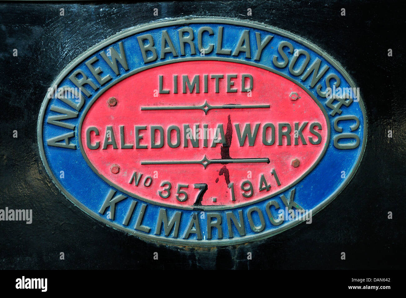 Chatham, Kent, England. Chatham Historic Dockyard. Maker's plate on locomotive - Overlord (Barclay 0-4-0 Diesel Stock Photo