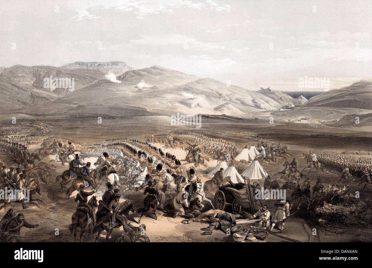 CRIMEAN WAR: BATTLE OF BALAKLAVA 25 October 1854. See Description below - Stock Image