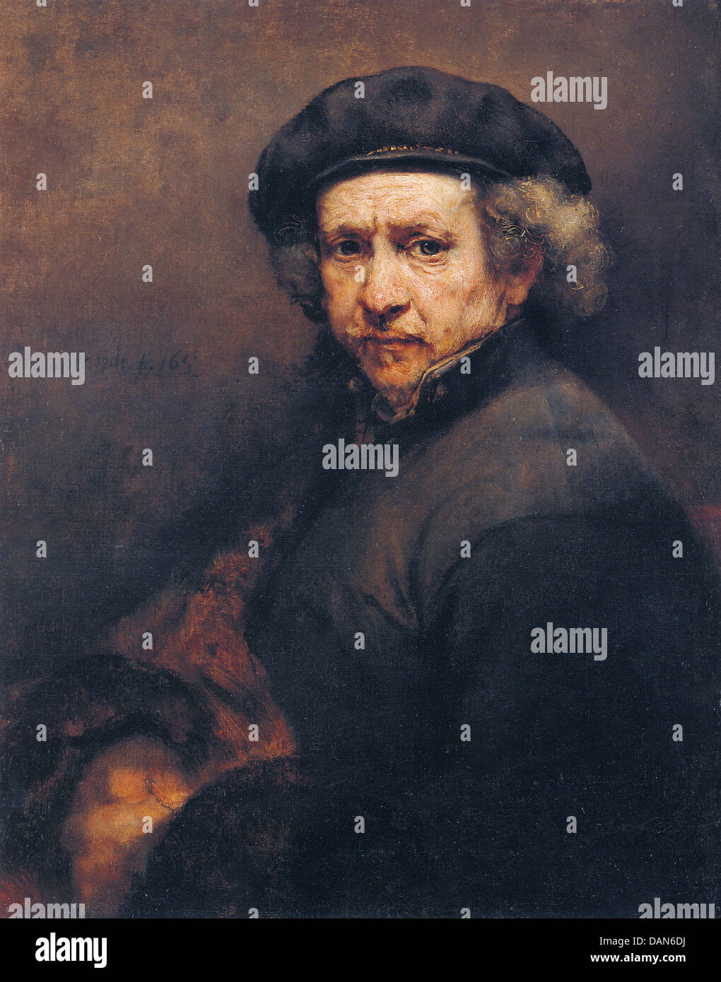 REMBRANDT (1606-1669) self portrait of the Dutch painter in 1659 - Stock Image
