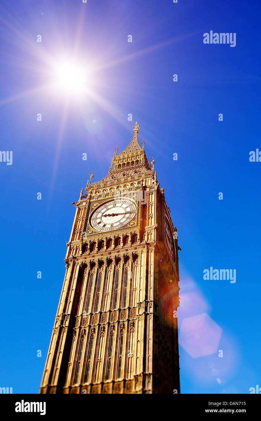 big ben sunshine - Stock Image