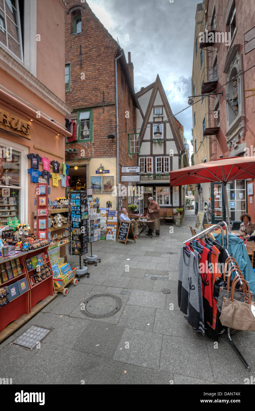 The Schnoor Quarter in Bremen, the oldest and most historical part of the city. - Stock Image