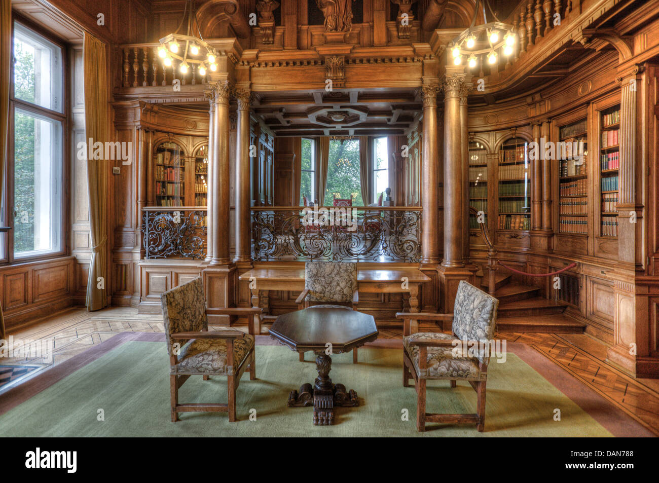 The library of the Krupp families Villa Hügel in Essen - Stock Image