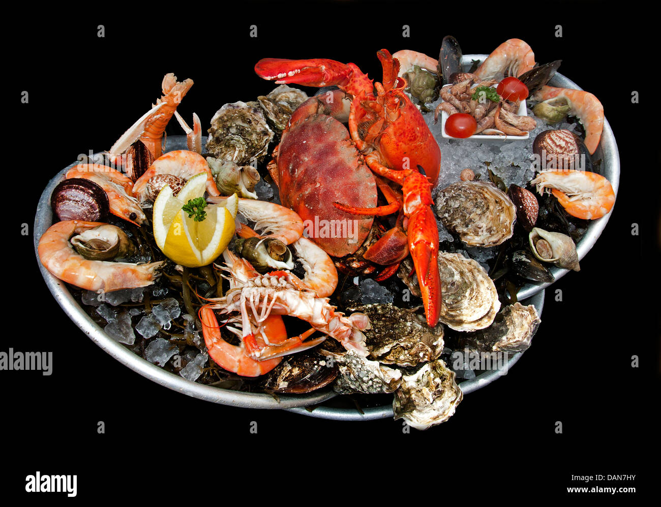 Fruits de mer French seafood Oysters Shrimp Lobster Periwinkle Crab Prawns Langoustine Mussels Scallops Clams - Stock Image