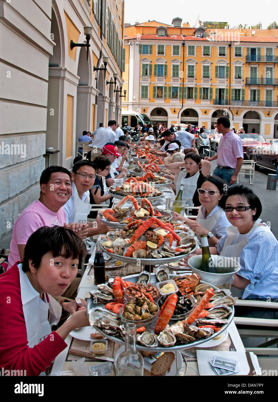 lunch cafe de turin nice france chinese people fruits de mer french stock photo 58244787 alamy. Black Bedroom Furniture Sets. Home Design Ideas