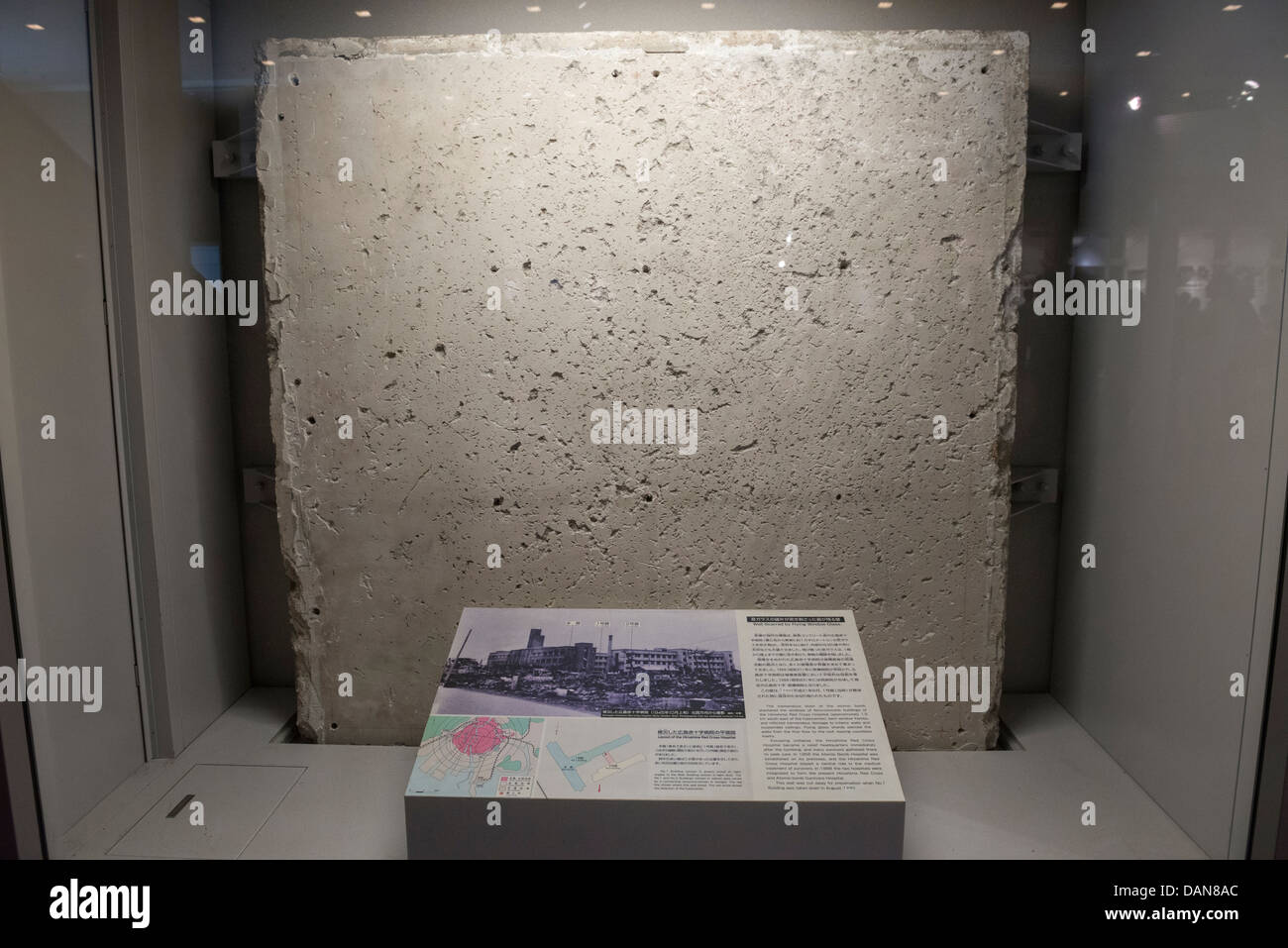 A Section of Concrete Wall from the Hiroshima Red Cross Hospital Damaged by Flying Shards of Glass cause by theStock Photo