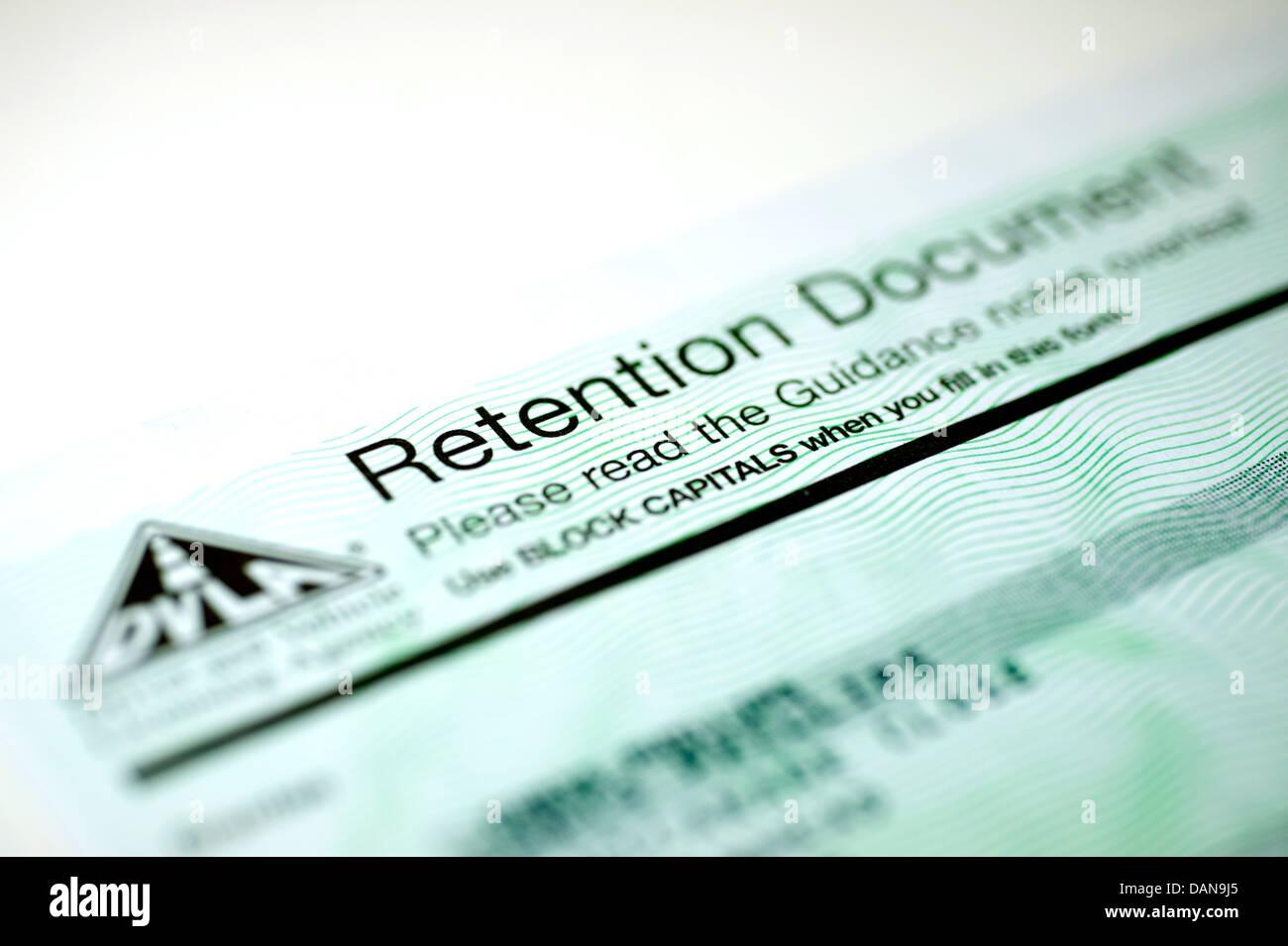 DVLA Cherished Transfer Retention Document - Stock Image