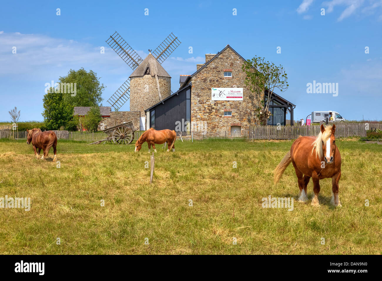mill in Cherrueix, Brittany, France - Stock Image